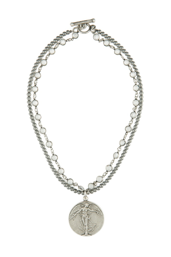 DOUBLE STRAND SWAROVSKI AND STERLING HEMATITE WITH L'ANGE MEDALLION