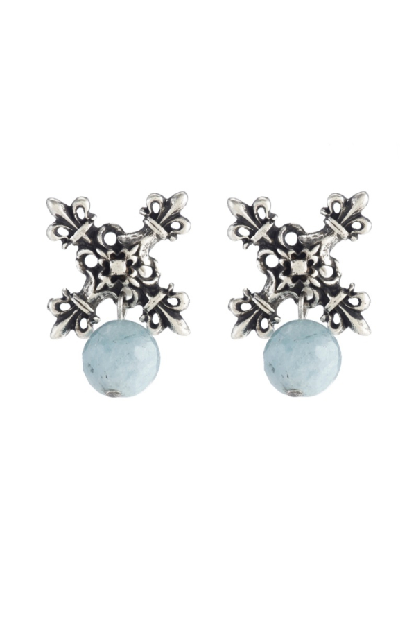 X EARRINGS WITH FACETED AQUAMARINE DANGLE