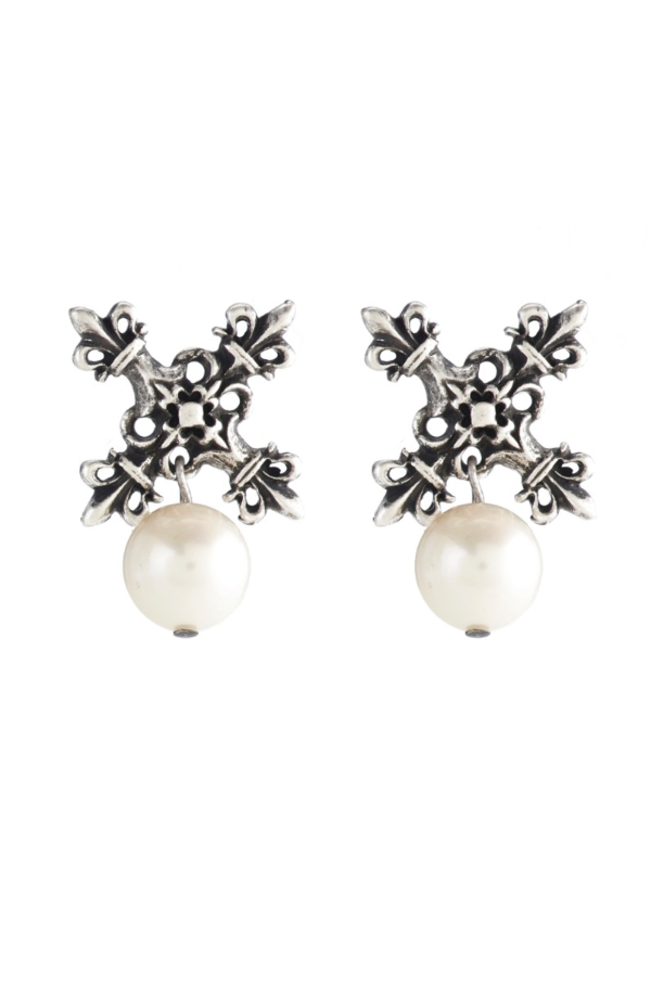 X EARRINGS WITH WHITE PEARL DANGLE