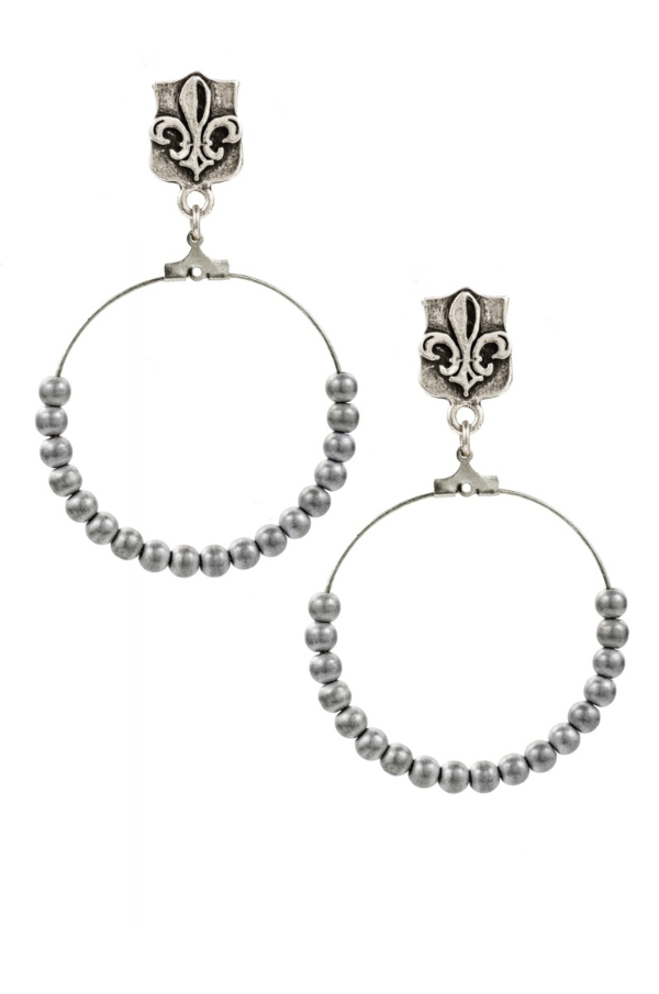 FDL AND SILVER PLATED HEMATITE HOOP EARRING