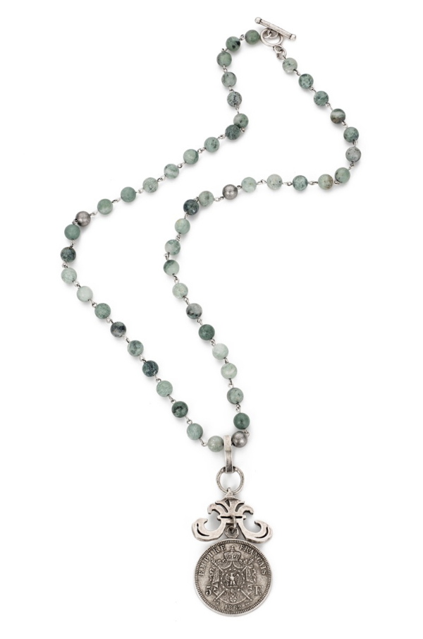 SEA MIST JADE WITH SILVER WIRE AND EMPIRE MEDALLION