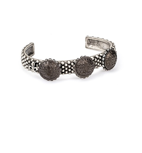 FEROU CUFF WITH BLACKENED RURALE MEDALLION AND SWAROVSKI