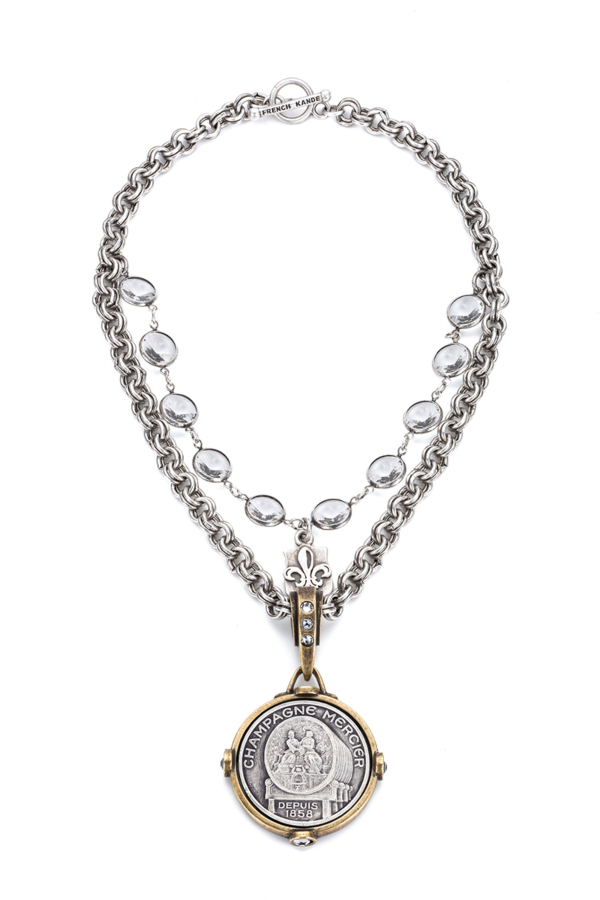 DOUBLE CABLE CHAIN WITH SWAROVSKI AND MERCIER MEDALLION