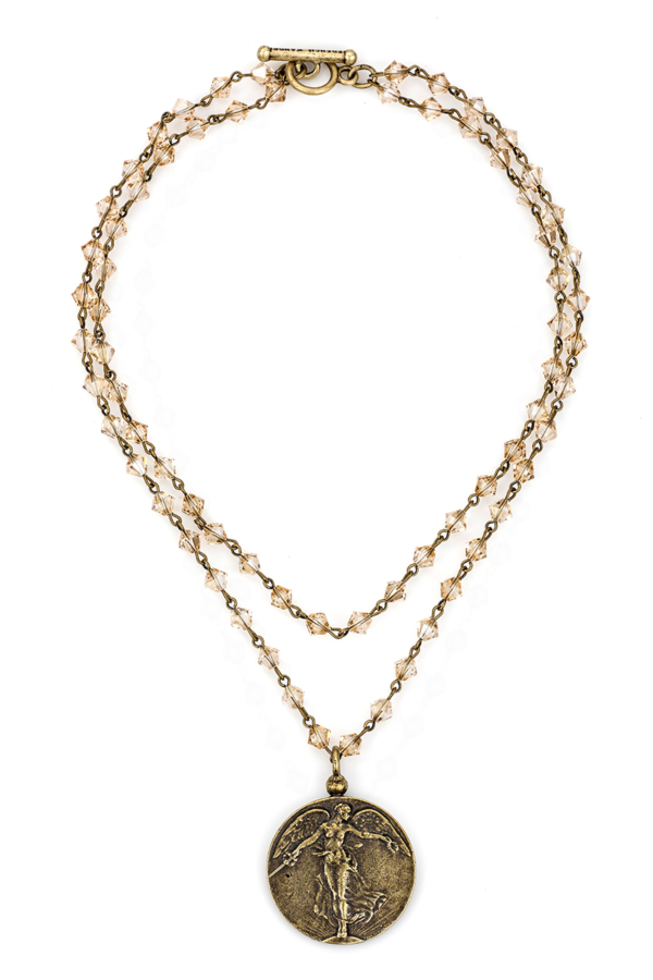 DOUBLE STRAND GOLDEN SHADOW SWAROVSKI WITH BRASS WIRE AND L'ANGE MEDALLION