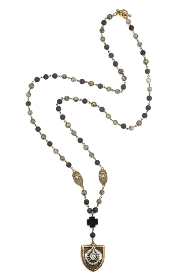 MIDNIGHT MIX WITH BRASS WIRE, SWAROVSKI CUVEE PENDANTS AND CHEVAL HEART STACK MEDALLION