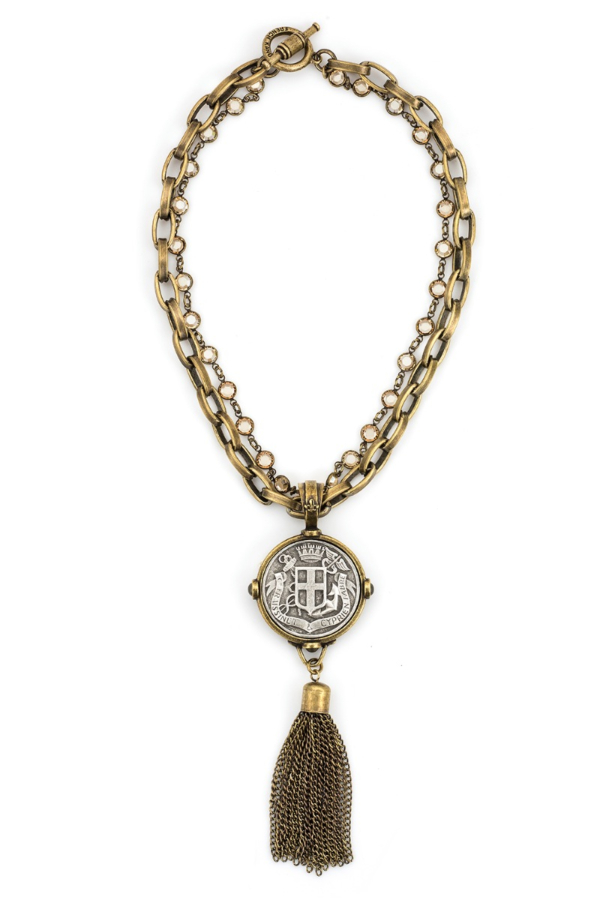 DOUBLE STRAND LYON CHAIN AND GOLDEN SHADOW SWAROVSKI WITH FABRE MEDALLION AND TASSEL