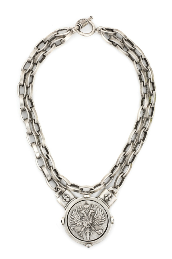 DOUBLE STRAND LYON CHAIN WITH CANARD MEDALLION