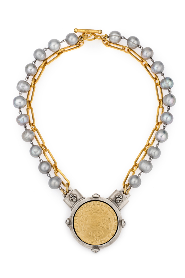DOUBLE STRAND SILVER PEARL AND VERSAILLES CHAIN WITH DOMINI MEDALLION
