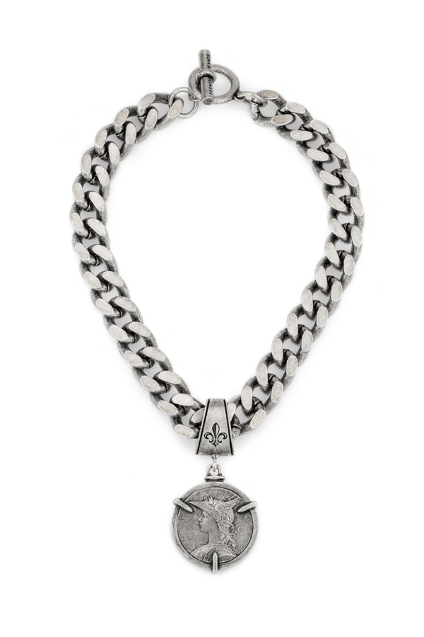 BEVEL CHAIN WITH 3-PRONG MINISTRY MEDALLION