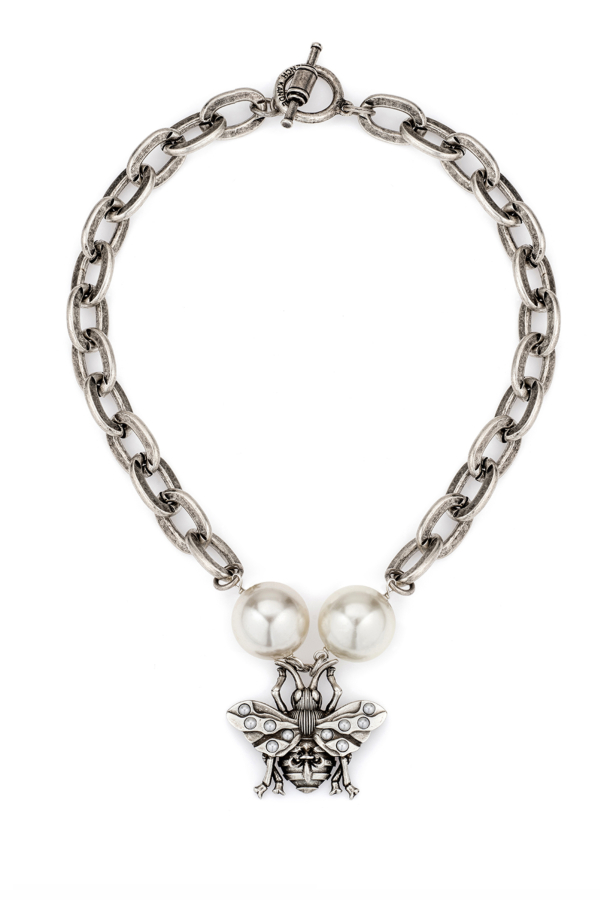LOURDES CHAIN WITH PEARL AND FK BEE PENDANT
