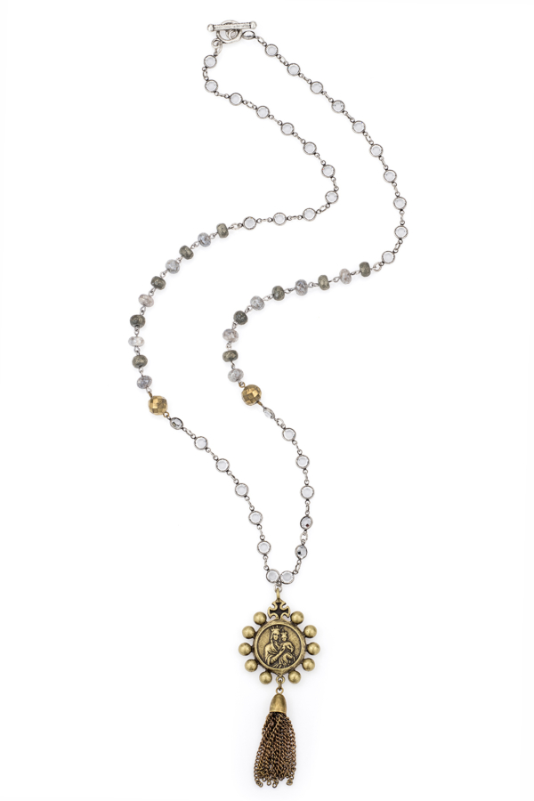 SWAROVSKI, PYRITE AND SILVERITE WITH CROWNING MARY PENDANT AND TASSEL