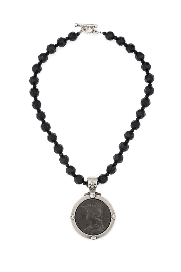 FACETED BLACK ONYX WITH MINISTRY MEDALLION