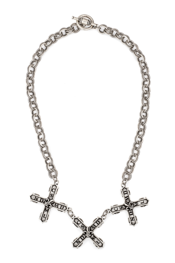 SILVER PROVENCE CHAIN WITH TRIPLE FRENCH KISS PENDANTS