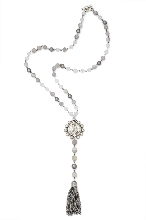LINEN MIX WITH SILVER WIRE, CROWNING MARY MEDALLION AND TASSEL