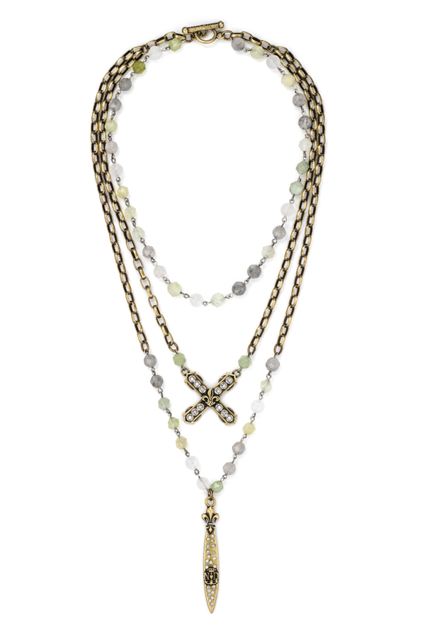 TRIPLE STRAND SAGE MIX WITH SILVER WIRE, ALSACE CHAIN, SWAROVSKI FRENCH KISS AND SWORD & CROWN PENDANT