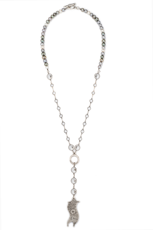 TRI-COLOR PEARLS WITH SWAROVSKI AND LES AFFAIRES PENDANT