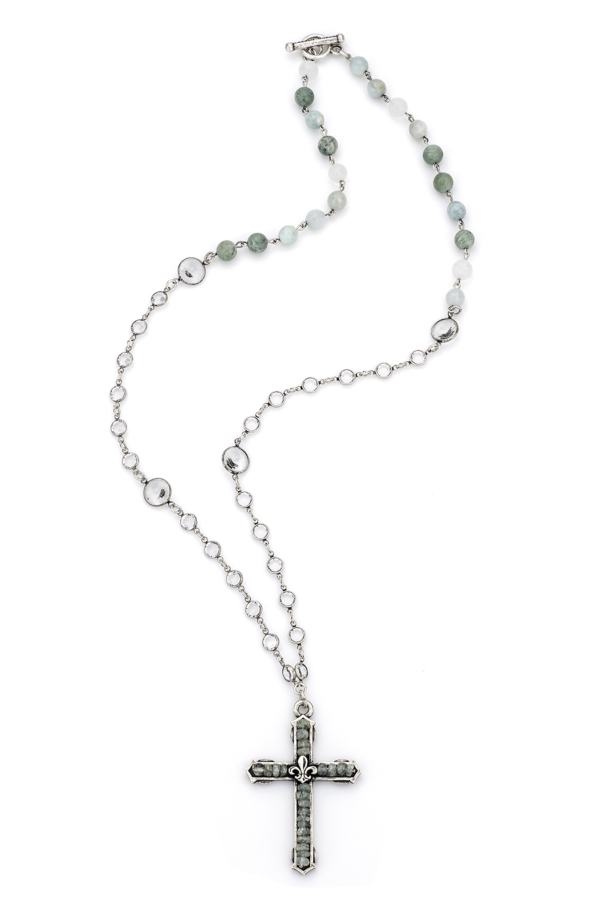 SEASIDE MIX WITH SILVER WIRE, SWAROVSKI AND FDL CHANNEL CROSS