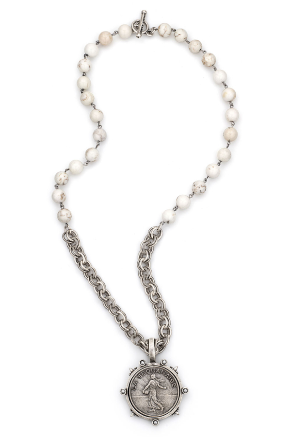WHITE TURQUOISE WITH SILVER WIRE, PROVENCE CHAIN AND LIBERTY MEDALLION