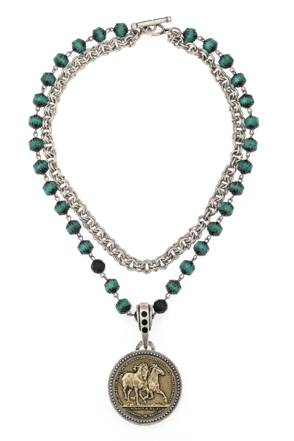 DOUBLE STRAND TURQUOISE CRYSTAL AND CHAIN WITH LES CHEVAUX MEDALLION