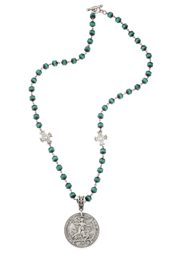 TURQUOISE CRYSTAL WITH IMMACULE PENDANTS AND LAREN MEDALLION