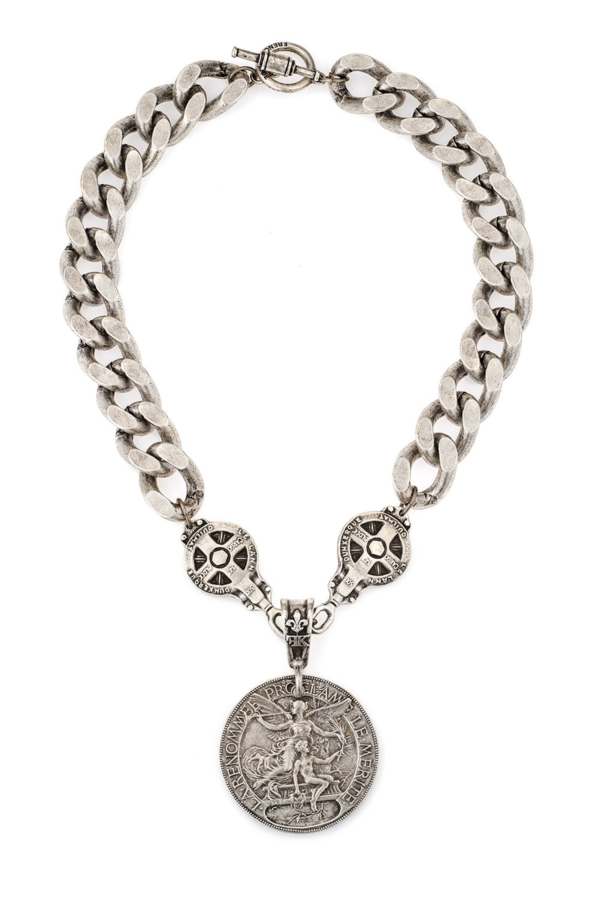 SILVER BEVEL CHAIN WITH DUNKERQUE AND LAREN MEDALLIONS