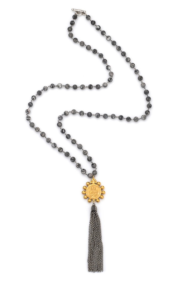 MATISSE JASPER WITH SILVER WIRE, CROWNING MARY MEDALLION AND TASSEL