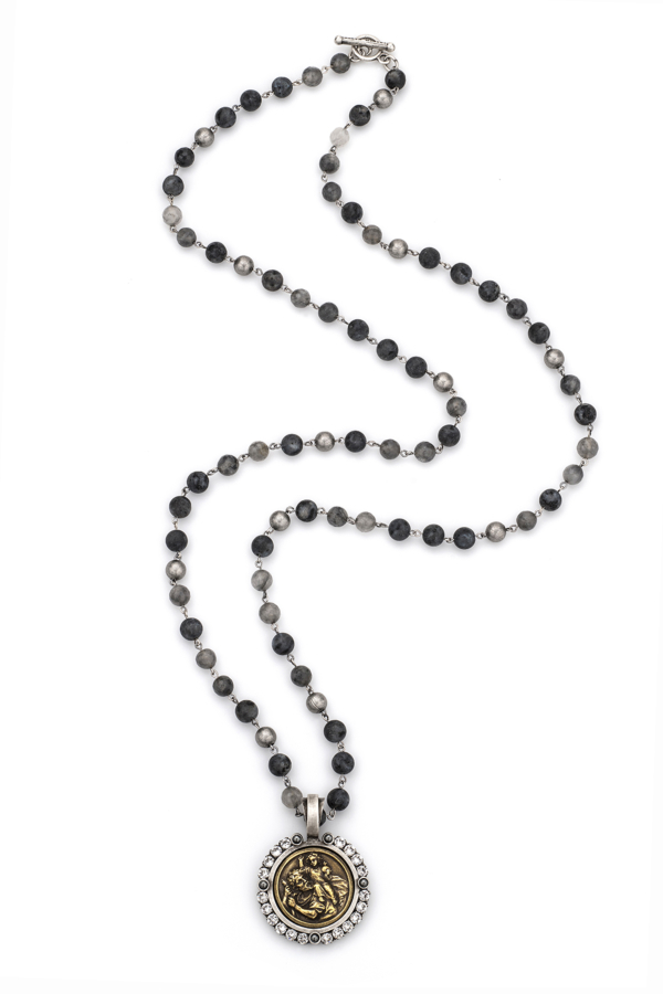 SLATE MIX WITH SILVER WIRE, ST. CHRISTOPHER MIKO MEDALLION AND SWAROVSKI