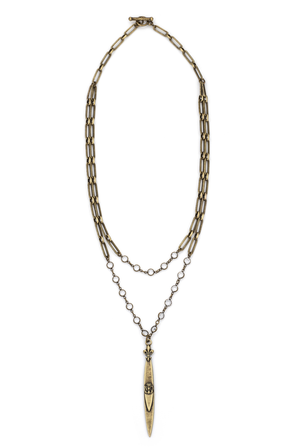 DOUBLE STRAND VERSAILLES CHAIN AND SWAROVSKI WITH POINTU PENDANT