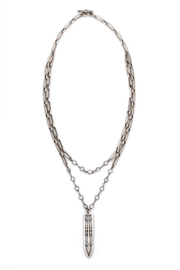 DOUBLE STRAND VERSAILLES CHAIN AND SWAROVSKI WITH SWORD & CROWN PENDANT