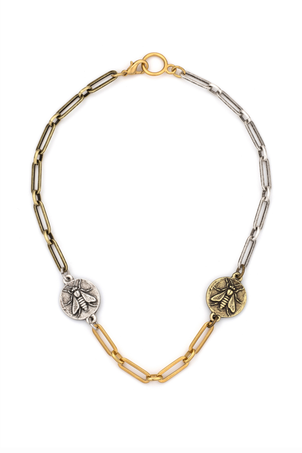 MIXED METAL VERSAILLES CHAIN WITH MINI ABEILLE MEDALLIONS