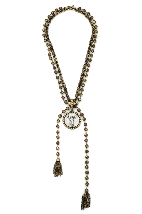 GOLDEN DRUZY WITH SILVER WIRE AND DOUBLE CABLE CHAIN, CIVILIZATION MEDALLION AND TASSELS