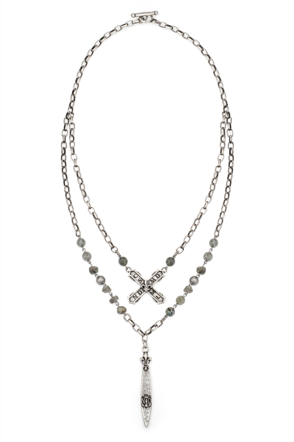 DOUBLE STRAND MOONLIGHT MIX WITH SILVER WIRE, ALSACE CHAIN, FRENCH KISS AND SWAROVSKI POINTU PENDANT