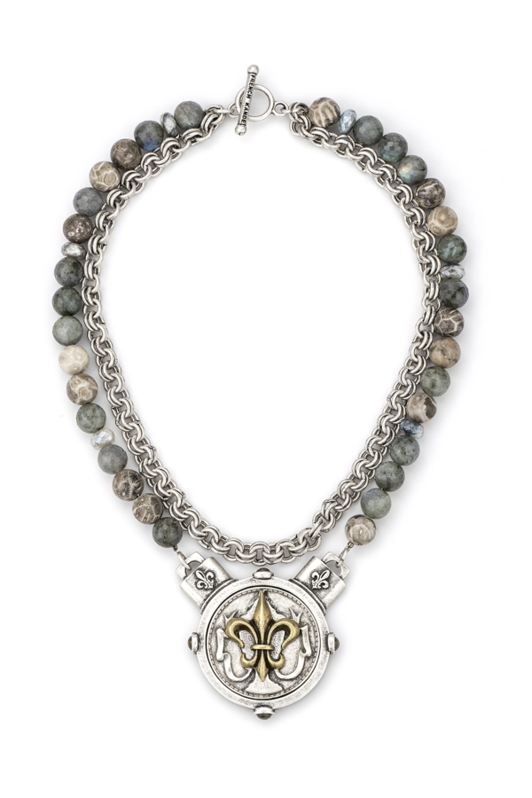 DOUBLE STRAND MEDITERRANEAN MIX AND CHAIN WITH PORTO FLEUR STACK MEDALLION