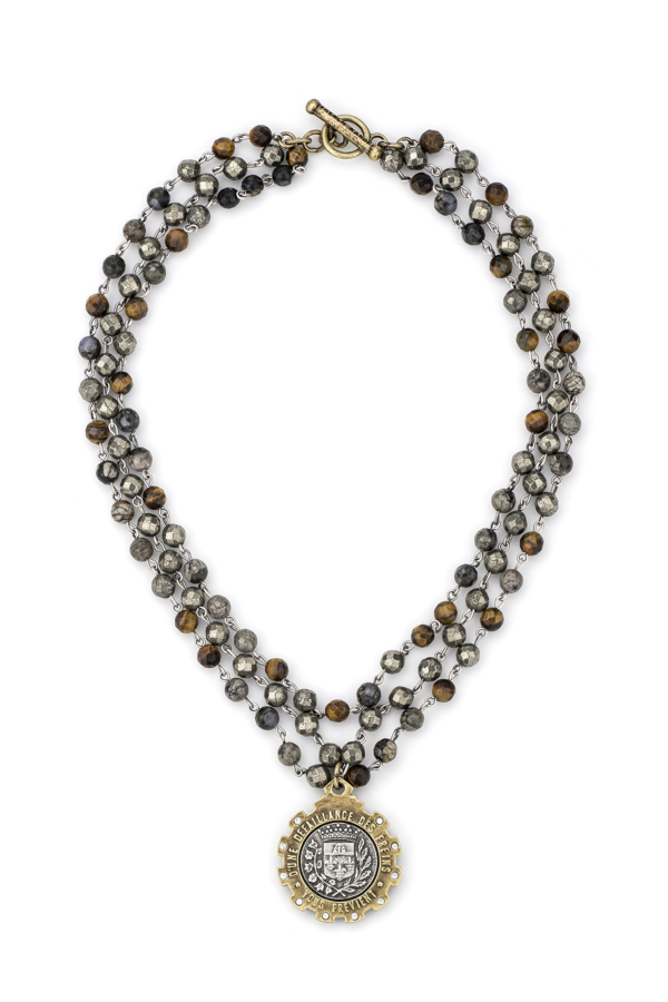 TRIPLE STRAND CHARBON MIX WITH SILVER WIRE AND GUSTAVE MEDALLION