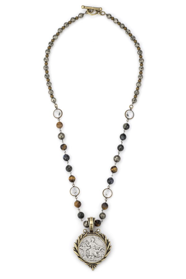 CHARBON MIX WITH SILVER WIRE AND SWAROVSKI, PYRITE AND COMITE MEDALLION