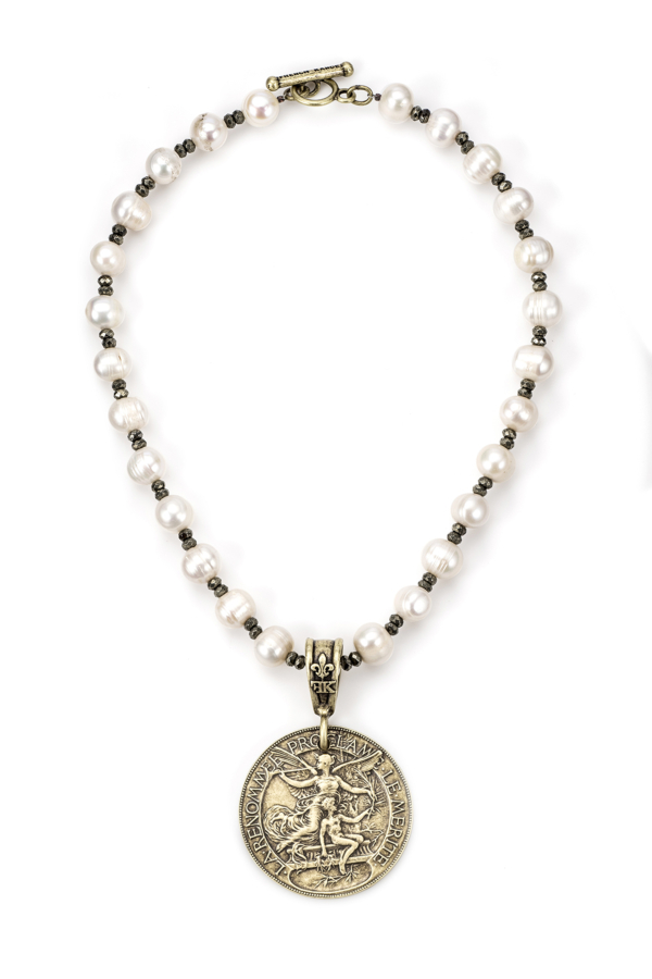 PEARLS AND PYRITE WITH LAREN MEDALLION