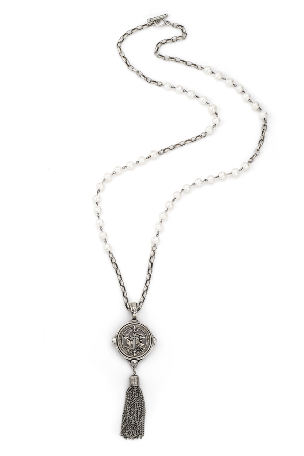 WHITE PEARL WITH SILVER WIRE, ALSACE CHAIN, PINEAU CROSS II STACK MEDALLION AND TASSEL