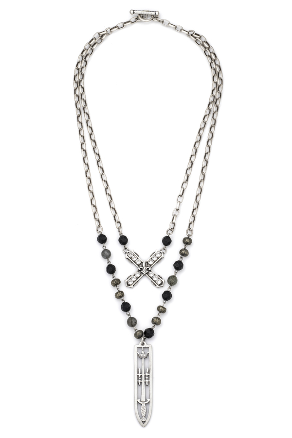DOUBLE STRAND NIGHTFALL MIX AND ALSACE CHAIN, SWAROVSKI FRENCH KISS AND SWORD & CROWN PENDANT