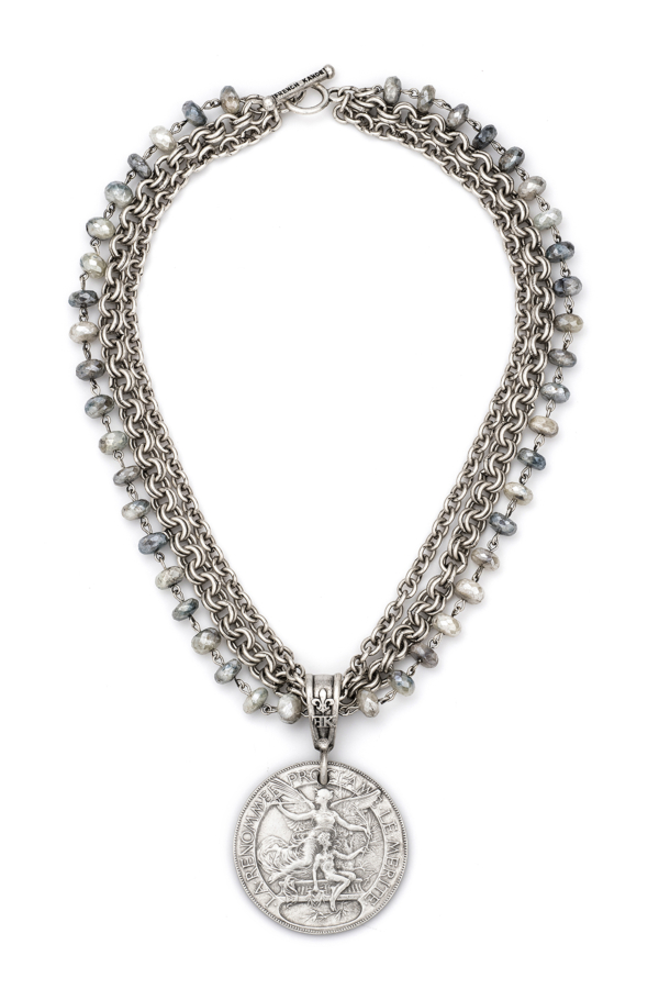 TRIPLE STRAND FACETED SILVERITE WITH SILVER WIRE, CHAIN AND LAREN MEDALLION