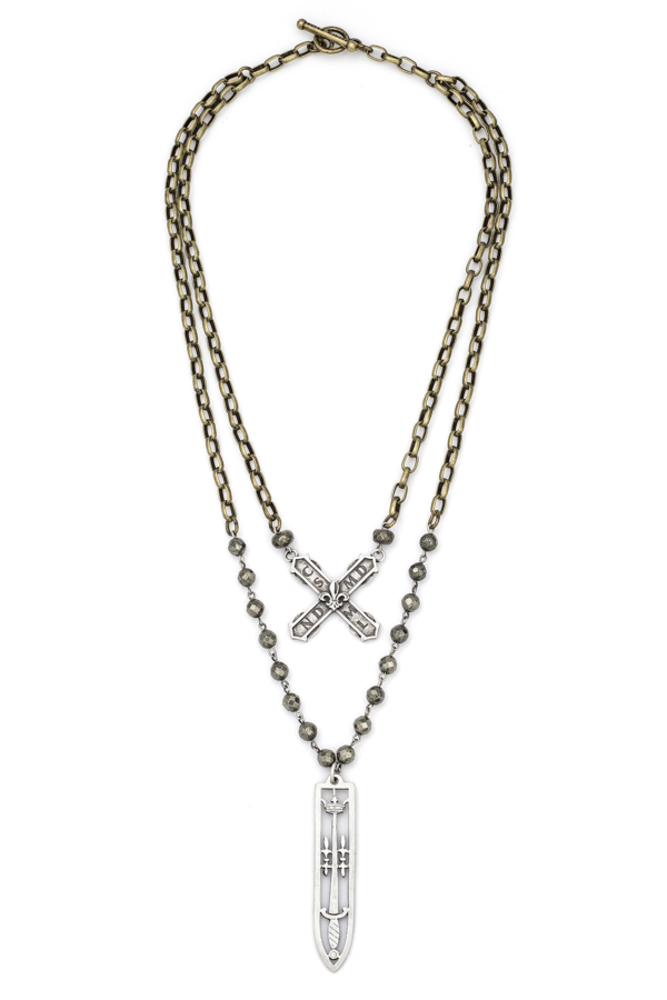 PYRITE WITH SILVER WIRE, ALSACE CHAIN, FRENCH KISS AND SWORD & CROWN PENDANT