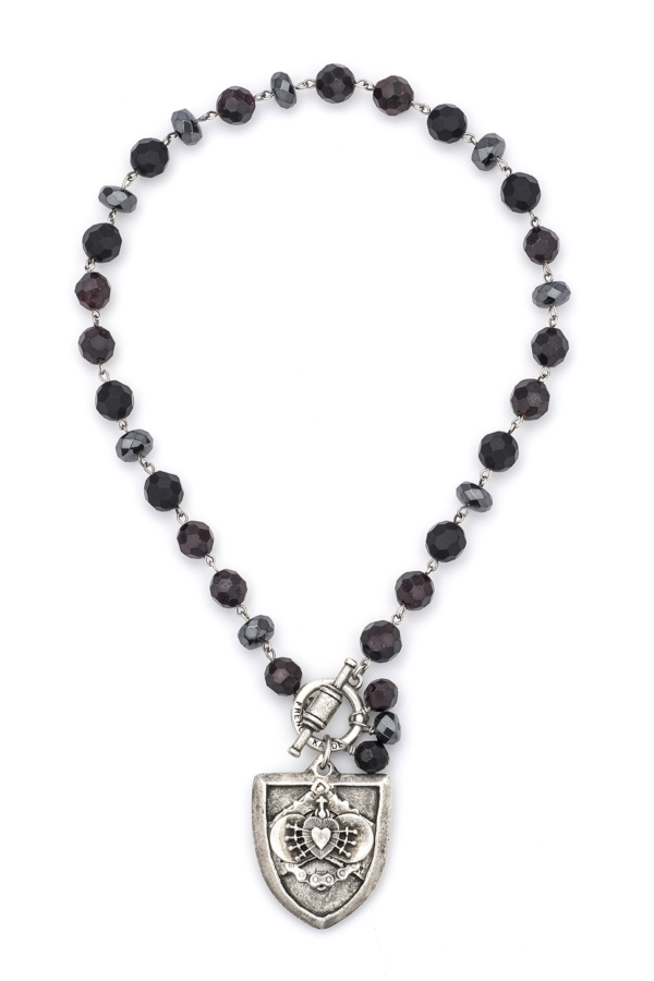 NIGHT TIDE MIX WITH SILVER WIRE AND CHEVAL I HEART STACK MEDALLION
