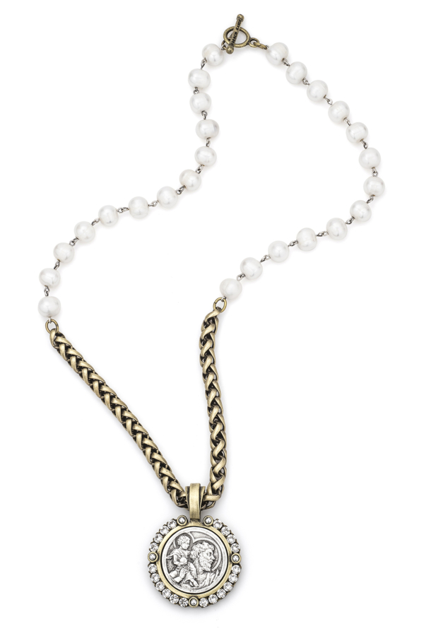PEARLS WITH SILVER WIRE, CHEVAL CHAIN, ST. CHRIS MODERN MEDALLION AND SWAROVSKI