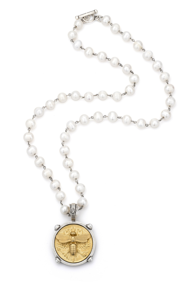 PEARLS WITH SILVER WIRE AND GOLD CANARD MIEL STACK MEDALLION