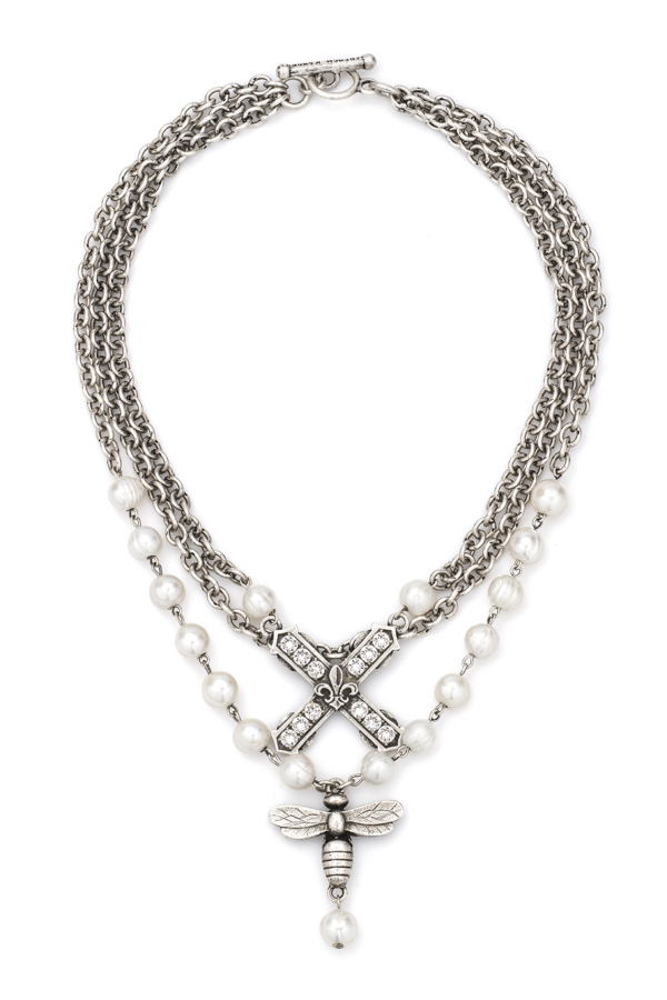 TRIPLE STRAND PEARLS WITH SILVER WIRE AND CHAIN, SWAROVSKI FRENCH KISS AND MIEL PENDANTS