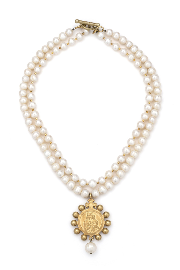 DOUBLE STRAND PEARLS AND GOLD HEISHI WITH GOLD CROWNING MARY MEDALLION