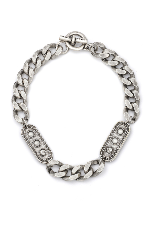 SILVER BEVEL CHAIN WITH TWIN LILLE MEDALLIONS