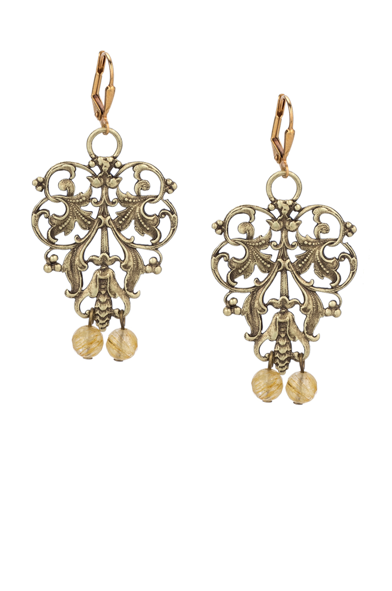 FRENCH FILIGREE EARRINGS WITH GOLDEN MIX DANGLES