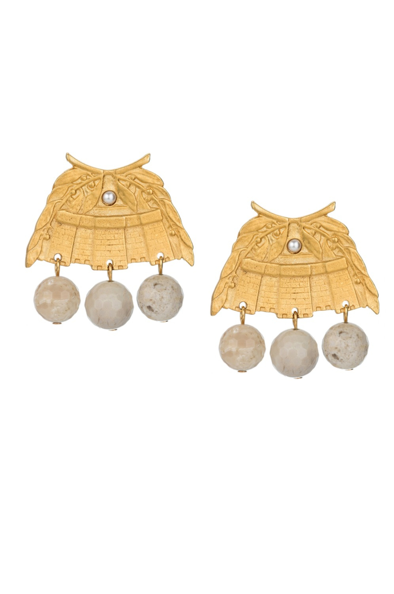 GOLD CHATEAU EARRINGS WITH AFRICAN OPAL DANGLES