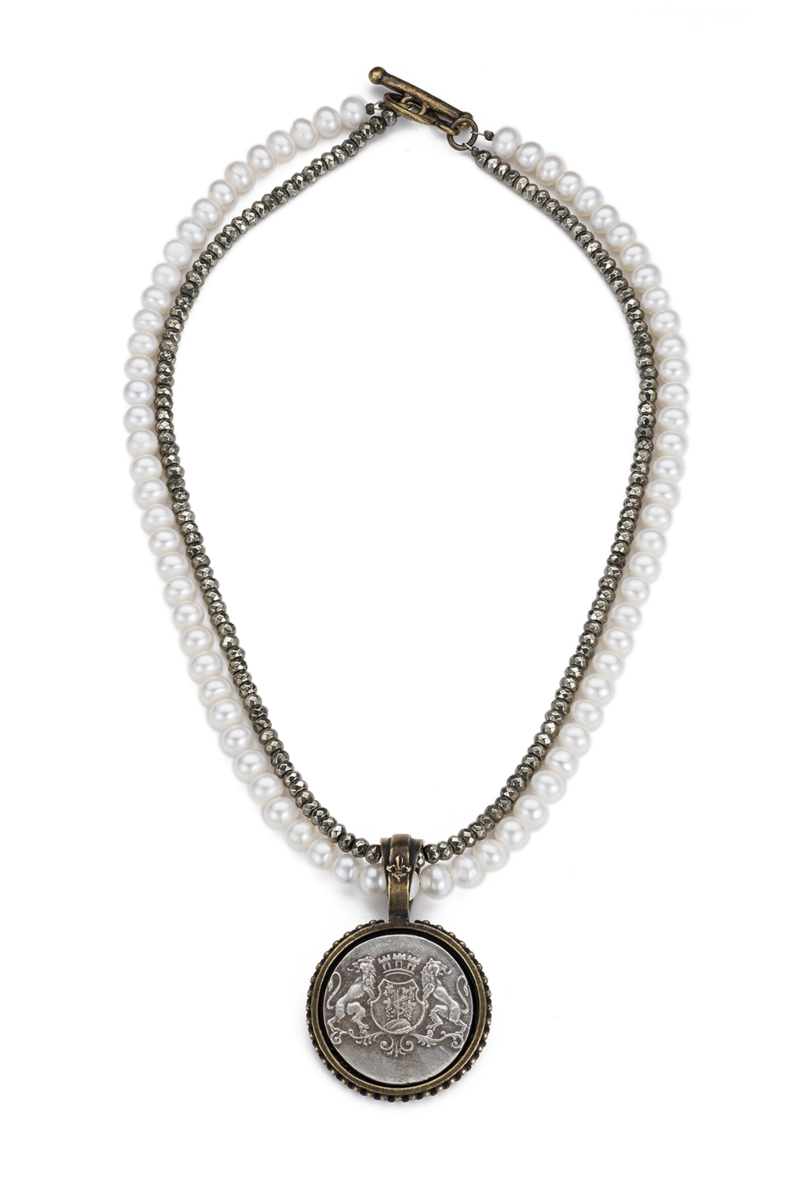 DOUBLE STRANDED PEARLS AND PYRITE WITH AIME MEDALLION