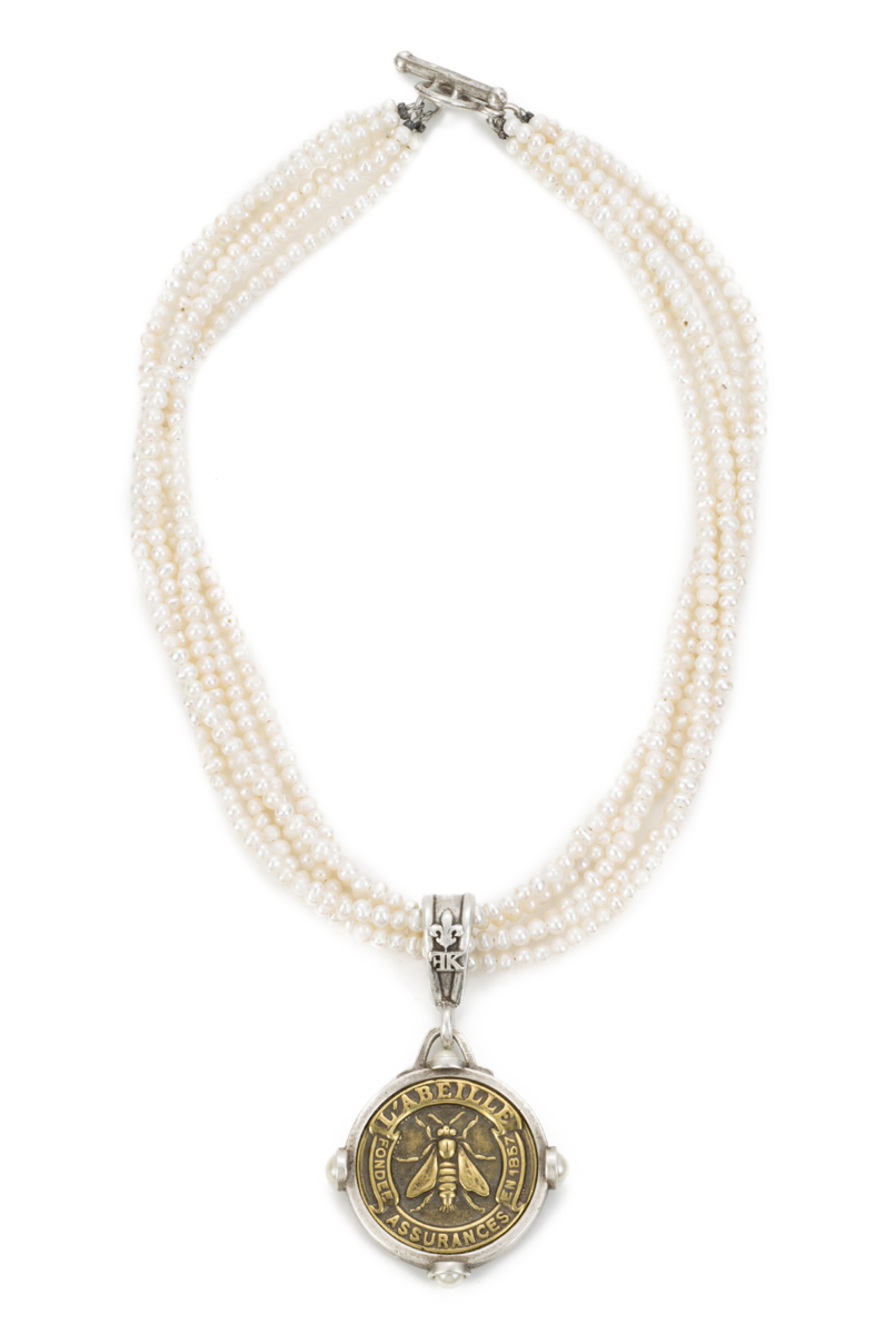FIVE STRANDED WHITE PEARL WITH ABEILLE MEDALLION